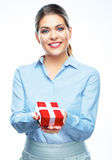 Gift Box. Business bonus. Business woman Stock Photo