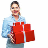 Gift Box. Business bonus. Business woman. Isolated white background portrait Royalty Free Stock Photography