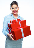 Gift Box. Business bonus. Business woman. Isolated white background portrait Stock Images