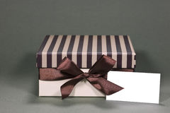 Gift box with business card Royalty Free Stock Image