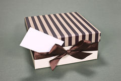 Gift box with business card Stock Photography