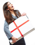 Gift box business woman hold against white background. Stock Image