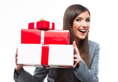 Gift box business woman hold against white background. Royalty Free Stock Images