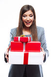 Gift box business woman hold against white background. Royalty Free Stock Image