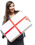 Gift box business woman hold against white  backgr Stock Photos