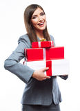 Gift box business woman hold against white  background. Stock Photos