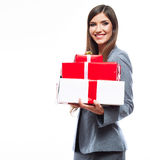 Gift box business woman hold against white isolate Royalty Free Stock Photography