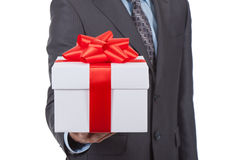 Gift box businessman Stock Photos