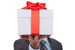 Gift box businessman Stock Image