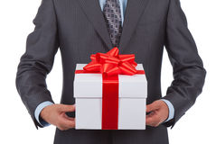 Gift box businessman Royalty Free Stock Image