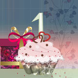 Gift box, cake and candle Royalty Free Stock Image