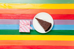 Gift box and cake Stock Photo