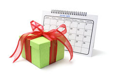 Gift Box and Calendar Royalty Free Stock Photos