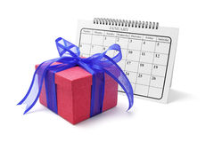 Gift Box and Calendar Royalty Free Stock Images