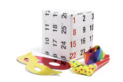 Gift Box with Calendar Page and Party Favors Stock Photography