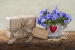 Gift box and campanula flowers Stock Photos