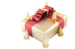 Gift box and candles Stock Photography