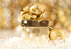 Gift box and candles Royalty Free Stock Image