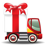 Gift Box on Car. Gift box on the delivery truck. Gradient mesh Stock Photography