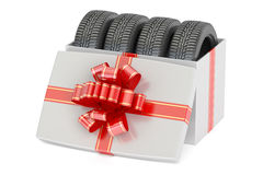 Gift Box with Car Tyres, 3D rendering. On white background Stock Photography