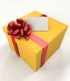 Gift box with a card. Gift box with a blank card on white background Stock Image