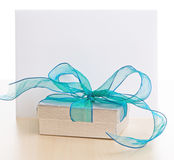 Gift Box And Card With Space For Text Royalty Free Stock Photos