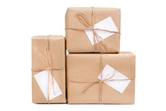 Gift box with card Royalty Free Stock Images