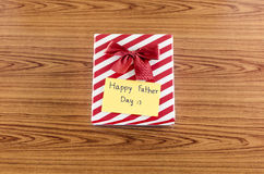 Gift box with card write happy father day Royalty Free Stock Photos