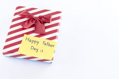 Gift box with card write happy father day word Stock Photos
