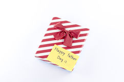 Gift box with card write happy father day word Royalty Free Stock Photos