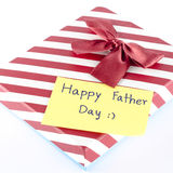 Gift box with card write happy father day word Stock Photography