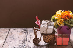 Gift box on a cart. Stock Image
