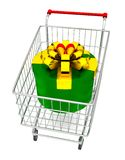 Gift box on cart Royalty Free Stock Photography