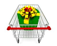 Gift box on cart Stock Photos