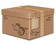 Gift box  carton with label and rope. pattern lizard . Gift box . carton with label and rope. pattern lizard Stock Photos