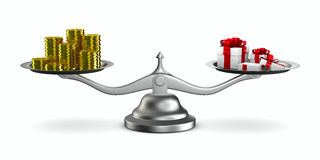Gift box and cash on scale Stock Photography