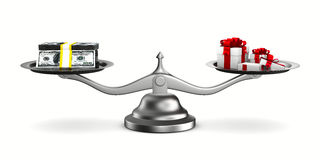 Gift box and cash on scale Royalty Free Stock Photos