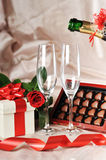 Gift in box and champagne Stock Photo