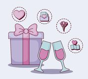Online dating design. Gift box and champagne glasses with online dating related icons over  purple background, colorful design. vector illustration Royalty Free Stock Images