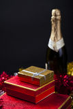 Gift Box and Champagne.  Stock Photos