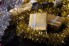 Gift Box and Champagne.  Royalty Free Stock Photos