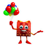 Gift Box Character with Balloons Stock Image