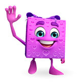 Gift Box Character with hello pose Stock Photos