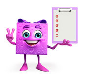 Gift Box Character with notepad Royalty Free Stock Photos