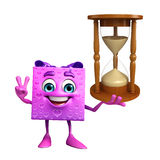 Gift Box Character with sand clock Royalty Free Stock Photo
