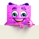 Gift Box Character with sign Royalty Free Stock Images