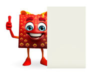 Gift Box Character with sign Royalty Free Stock Photos