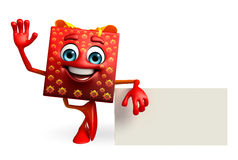 Gift Box Character with sign Royalty Free Stock Photography