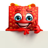 Gift Box Character with sign Royalty Free Stock Image