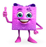 Gift Box Character thumbs up pose Royalty Free Stock Image